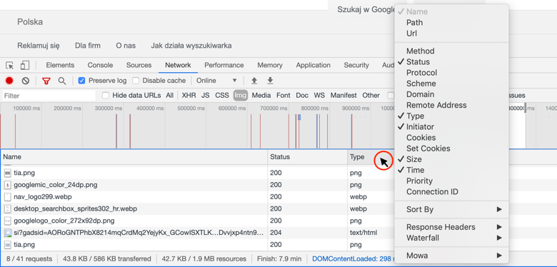 Chrome DevTools - dodatkowe kolumny